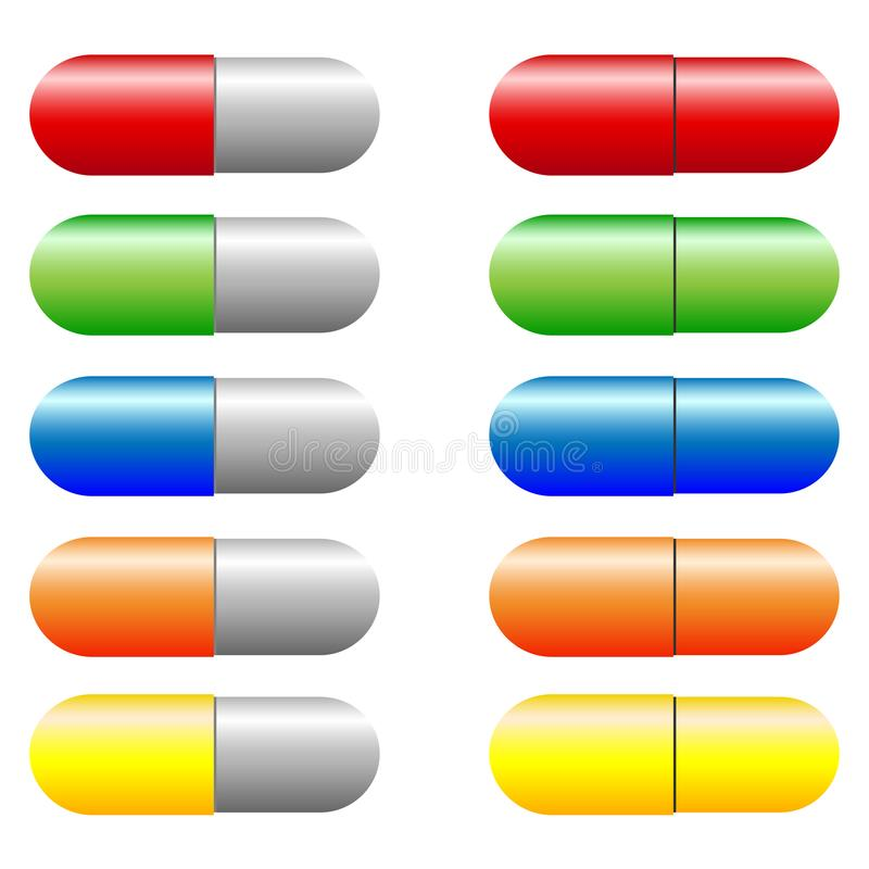 Insieme di vettore delle capsule variopinte illustrazione vettoriale