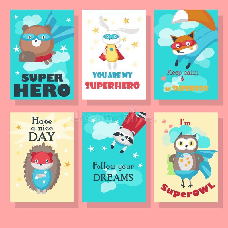 Insieme di vettore delle carte con gli animali svegli del supereroe royalty illustrazione gratis