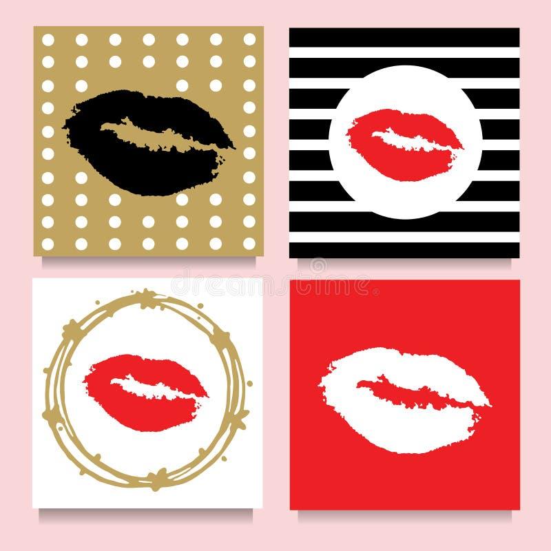 Insieme di vettore delle carte con i baci lipstic nei telai, bande, punti Rosso, dorato, nero, bianco illustrazione vettoriale