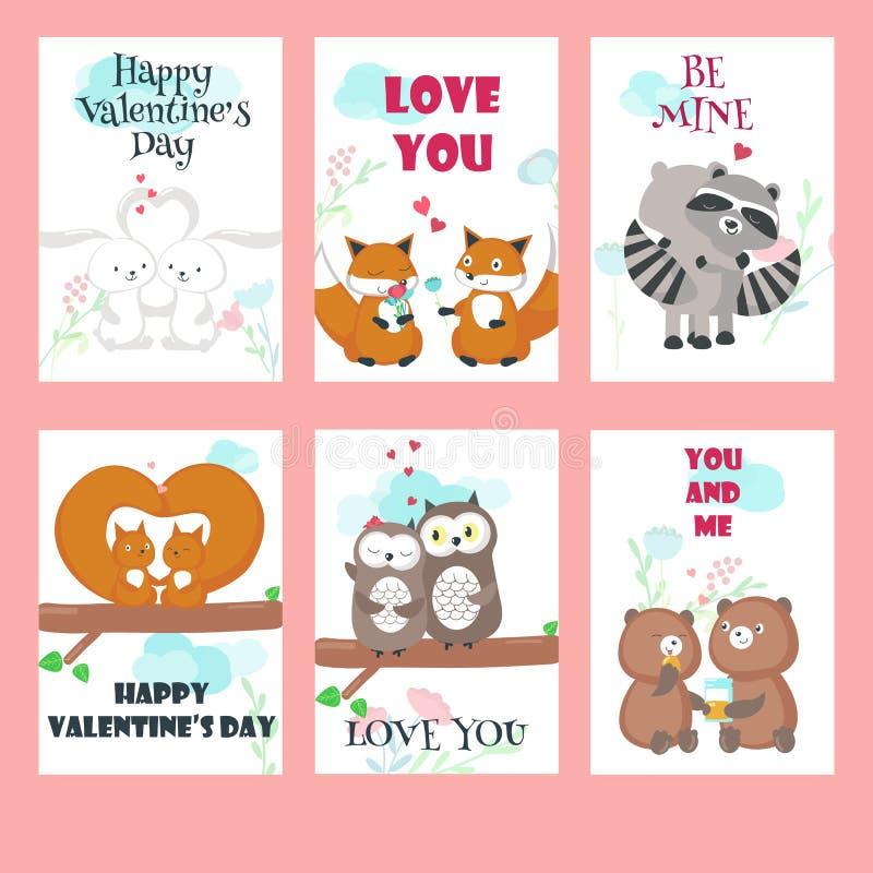 Insieme di vettore delle carte con le coppie sveglie degli animali royalty illustrazione gratis