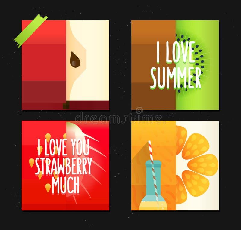 Insieme di vettore delle carte di estate creative Manifesti con la mela, il kiwi e l'arancia stilizzati divertenti di frutti royalty illustrazione gratis