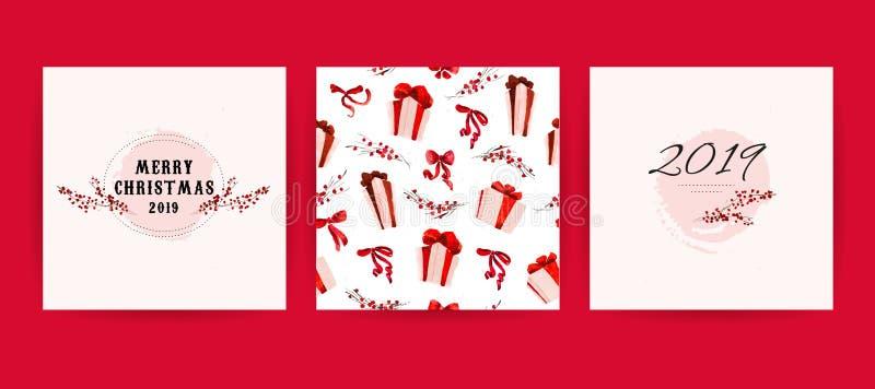 Insieme di vettore delle carte disegnate a mano dell'acquerello per le carte di congratulazione di celebrazione di Buon Natale, i royalty illustrazione gratis