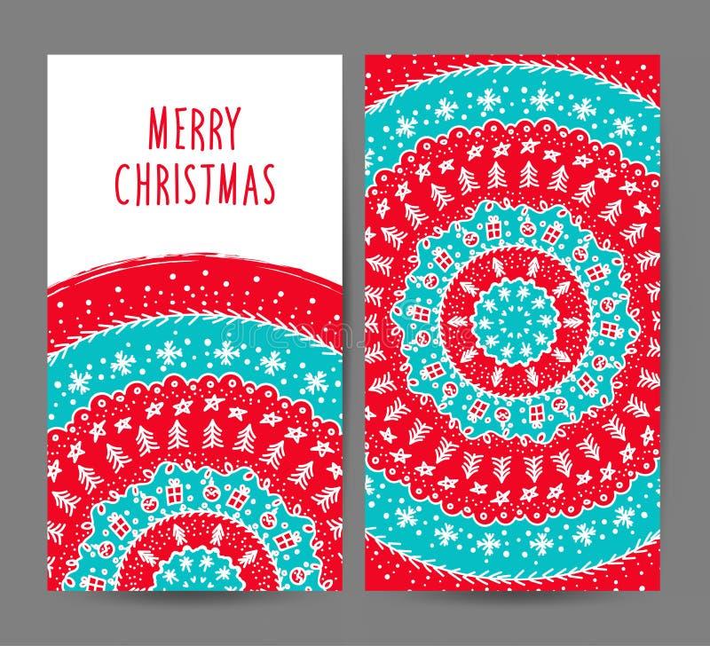 Insieme di vettore delle cartoline d'auguri del nuovo anno e di Natale illustrazione vettoriale