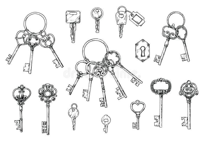 Insieme di vettore delle chiavi antiche disegnate a mano Illustrazione nello stile di schizzo su fondo bianco Vecchio disegno royalty illustrazione gratis