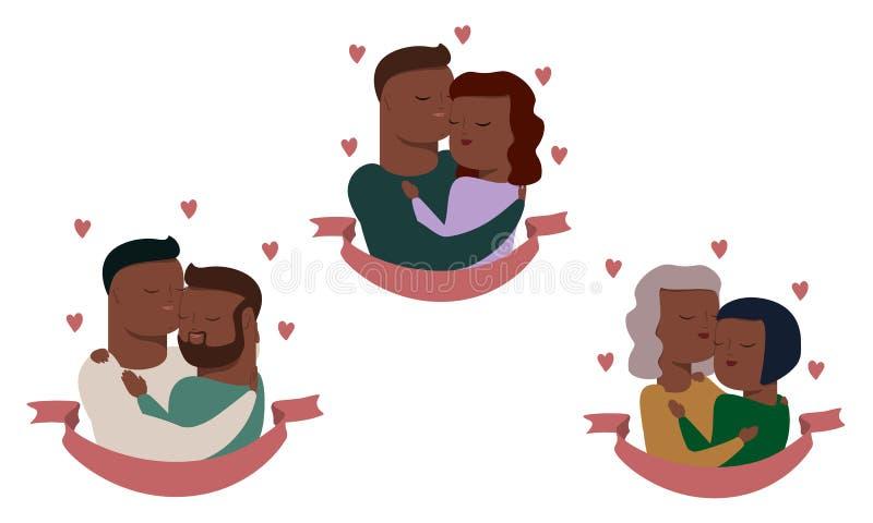 Insieme di vettore delle coppie, eterosessuale ed omosessuale illustrazione di stock
