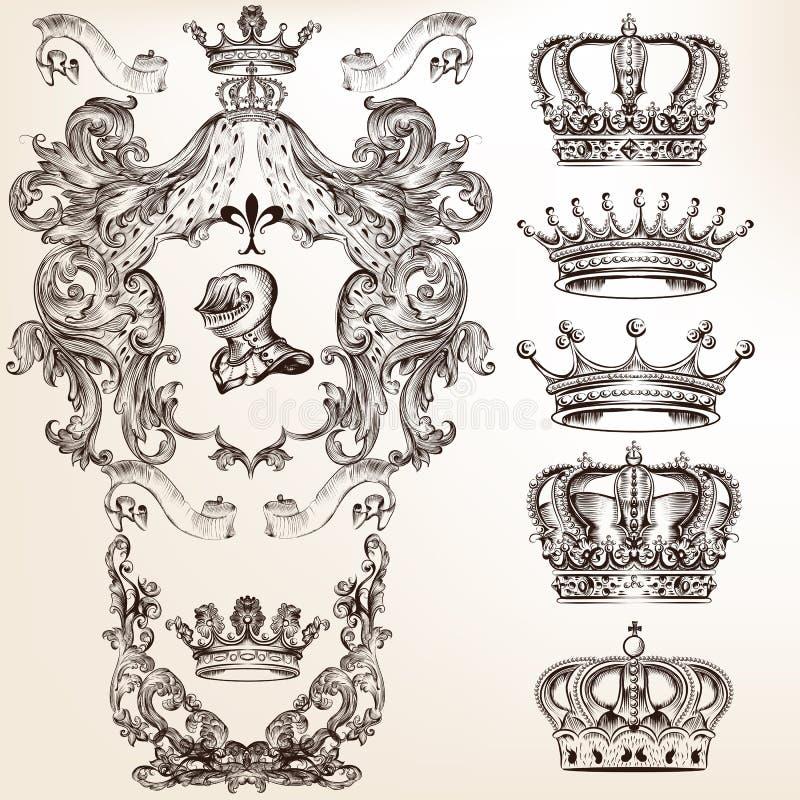 Insieme di vettore delle corone e degli schermi dettagliati per il vostro desi araldico royalty illustrazione gratis