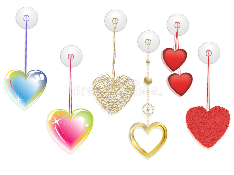 Insieme di vettore delle decorazioni d'attaccatura di cuore immagini stock libere da diritti