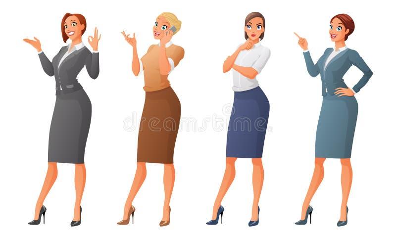 Insieme di vettore delle donne vestite convenzionali di affari del fumetto isolate su fondo bianco royalty illustrazione gratis