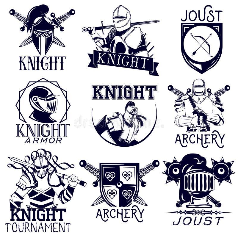 Insieme di vettore delle etichette araldiche del cavaliere nello stile d'annata illustrazione di stock