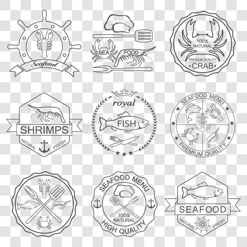 Insieme di vettore delle etichette dei frutti di mare royalty illustrazione gratis