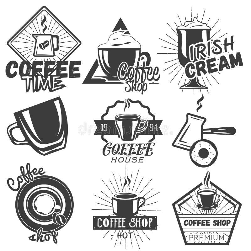 Insieme di vettore delle etichette del caffè e del caffè nello stile d'annata Progetti gli elementi, gli emblemi, i distintivi, i royalty illustrazione gratis