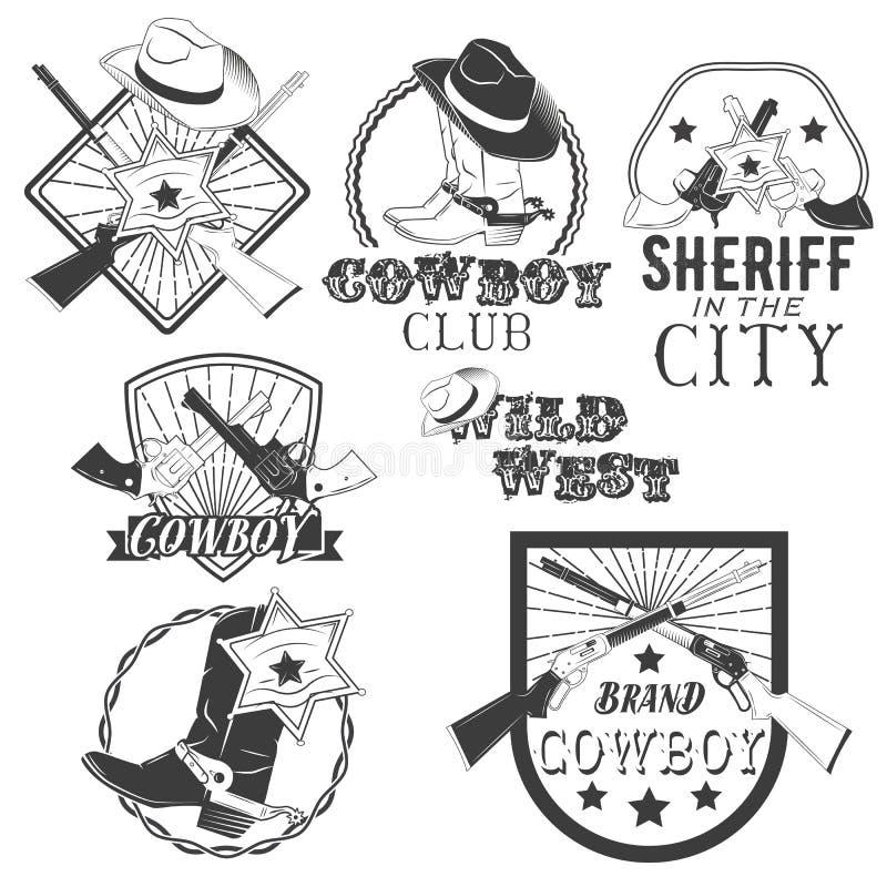 Insieme di vettore delle etichette del cowboy nello stile d'annata Ovest selvaggio, sceriffo, rodeo americano Elementi di progett illustrazione vettoriale