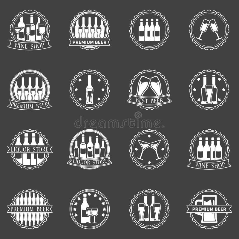 Insieme di vettore delle etichette del vino e della birra illustrazione di stock
