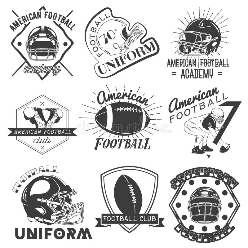 Insieme di vettore delle etichette di football americano e di rugby nello stile d'annata Concetto di sport illustrazione di stock
