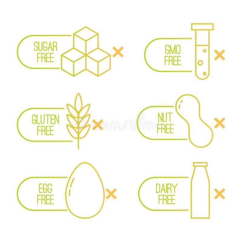 Insieme di vettore delle etichette di dieta di alimento illustrazione di stock