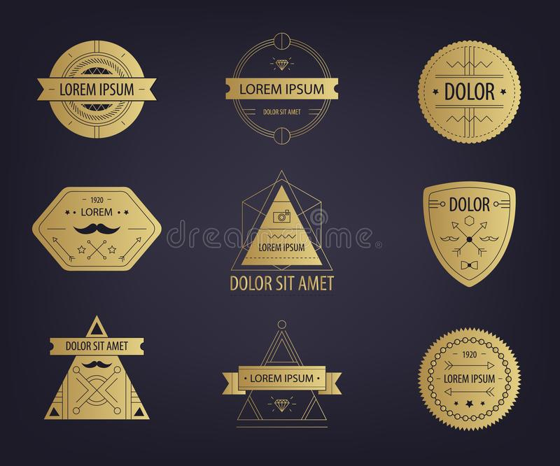 Insieme di vettore delle etichette dorate dei pantaloni a vita bassa dell'estratto, logos, distintivi, bolli royalty illustrazione gratis