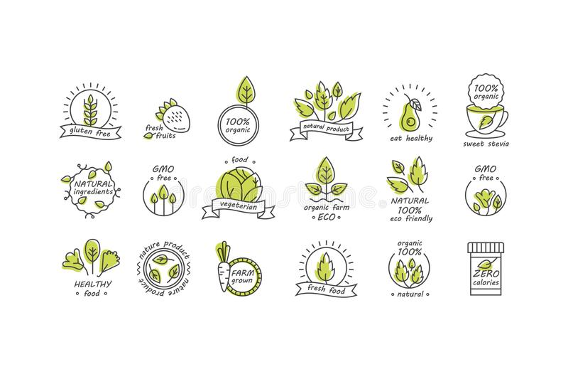 Insieme di vettore delle etichette e dei distintivi dei prodotti biologici - la raccolta delle icone e delle illustrazioni differ royalty illustrazione gratis
