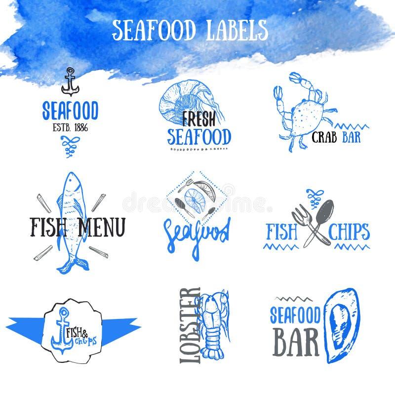 Insieme di vettore delle etichette e dei segni dei frutti di mare illustrazione vettoriale
