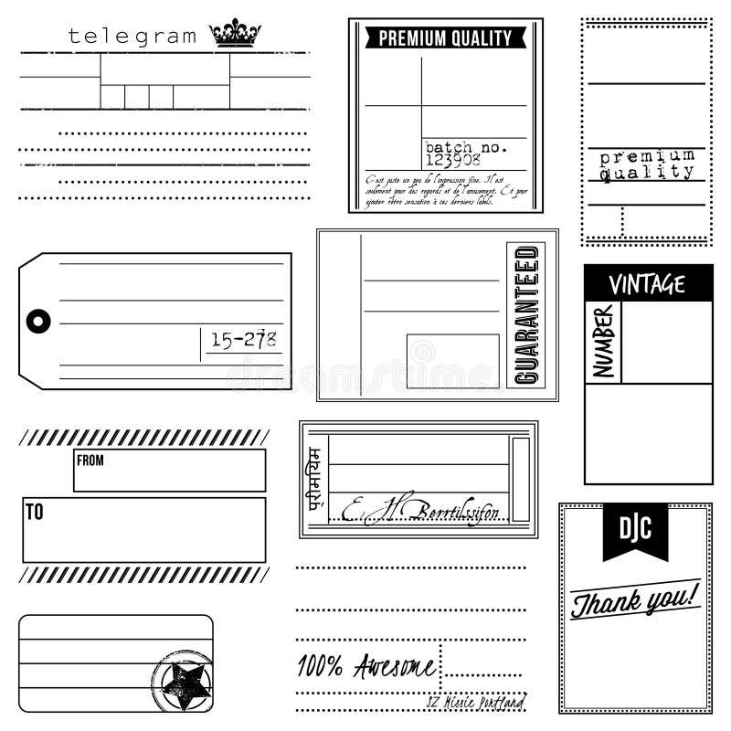 Insieme di vettore delle etichette e delle etichette ispirate annata illustrazione di stock
