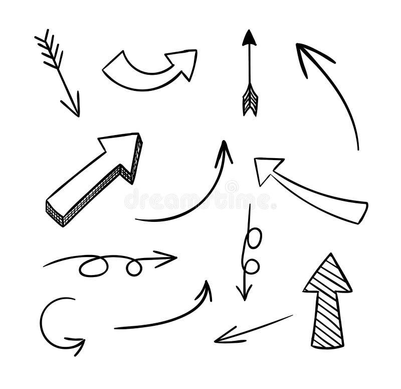 Insieme di vettore delle frecce di scarabocchio su fondo bianco royalty illustrazione gratis
