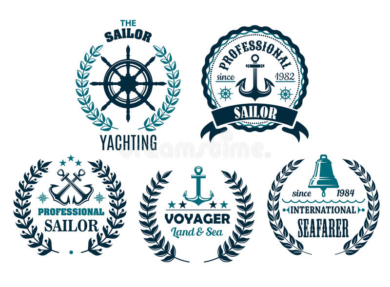Insieme di vettore delle icone araldiche nautiche per la navigazione da diporto illustrazione di stock