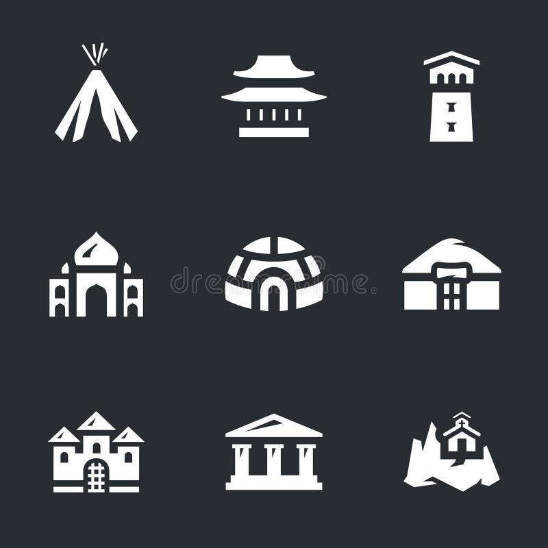 Insieme di vettore delle icone delle costruzioni illustrazione di stock