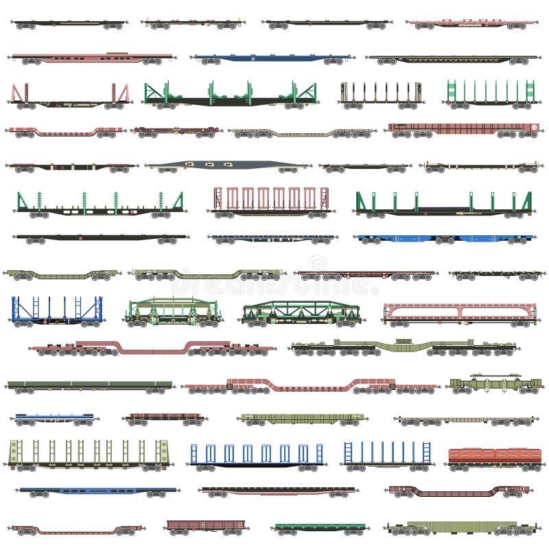 Insieme di vettore delle icone deatiled isolate dei treni, dei vagonetti, dei vagoni e dei furgoni ferroviari illustrazione di stock
