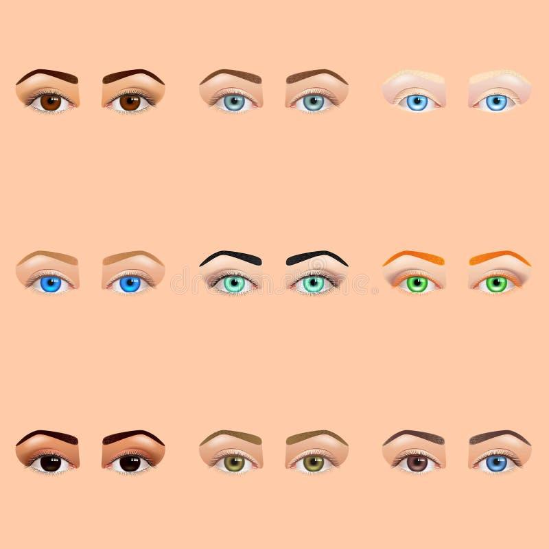 Insieme di vettore delle icone degli occhi e delle fronti della femmina illustrazione di stock