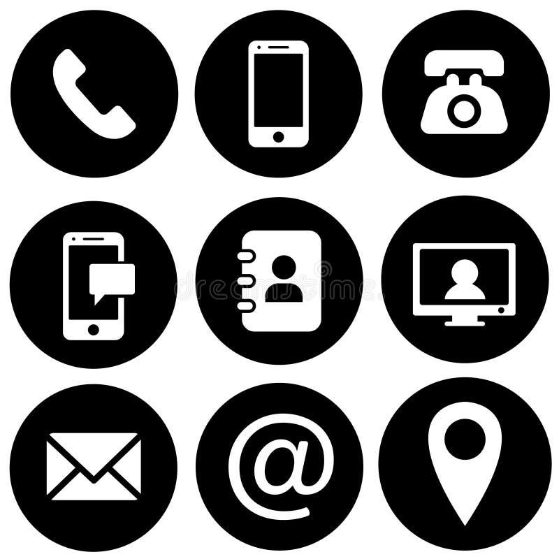 Insieme di vettore delle icone del contatto Illustrazione dell'icona di web il telefono, sito Web, posta, tempo, chiamata, casa,  illustrazione di stock