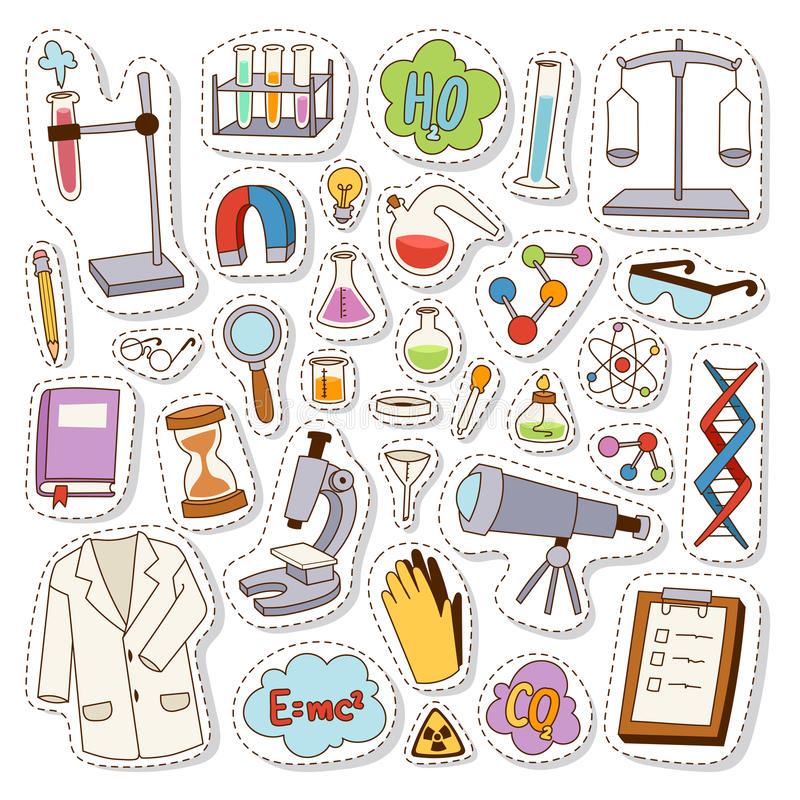 Insieme di vettore delle icone del laboratorio royalty illustrazione gratis
