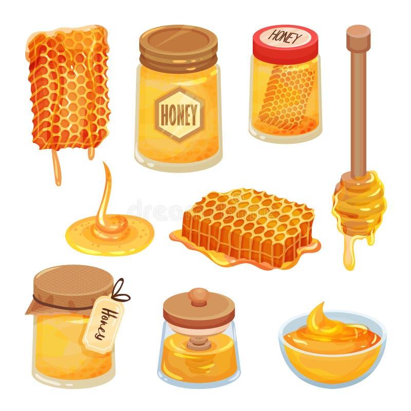 Insieme di vettore delle icone del miele del fumetto Prodotto casalingo naturale e sano Favi dell'ape, barattoli e merli acquaiol royalty illustrazione gratis