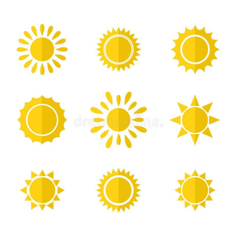 Insieme di vettore delle icone del sole illustrazione vettoriale