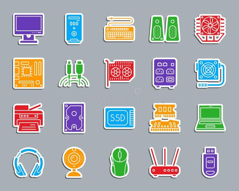 Insieme di vettore delle icone dell'autoadesivo di colore della toppa del computer illustrazione vettoriale
