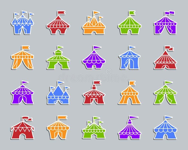 Insieme di vettore delle icone dell'autoadesivo della toppa della tenda di circo illustrazione vettoriale