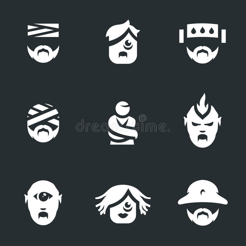 Insieme di vettore delle icone della gente di manicomio illustrazione vettoriale