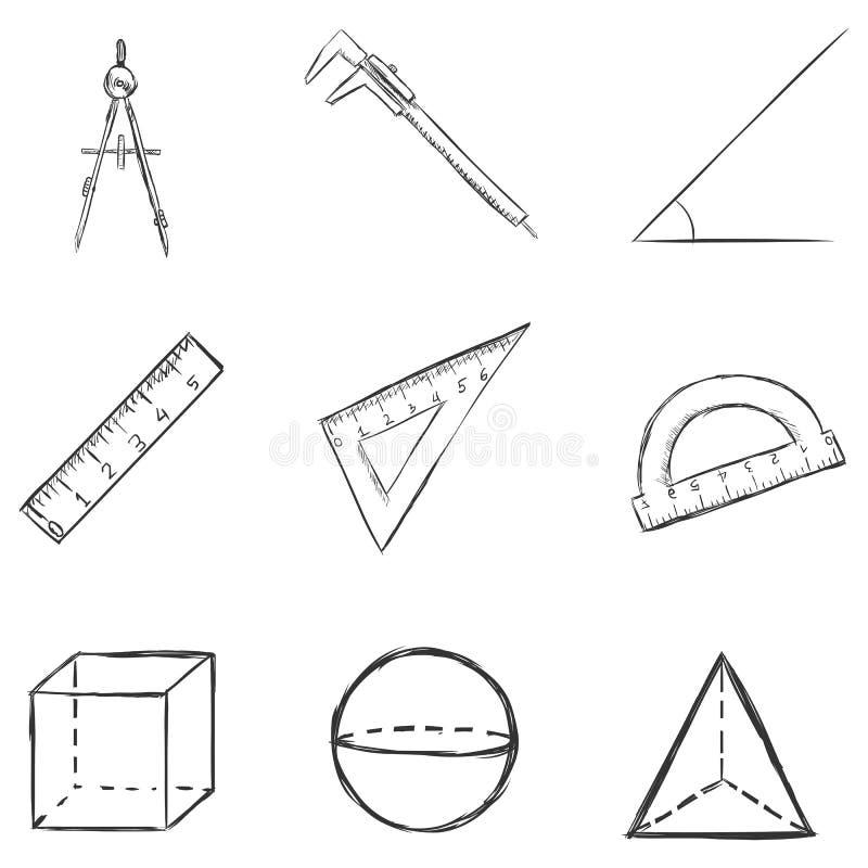 Insieme di vettore delle icone della geometria di schizzo illustrazione di stock