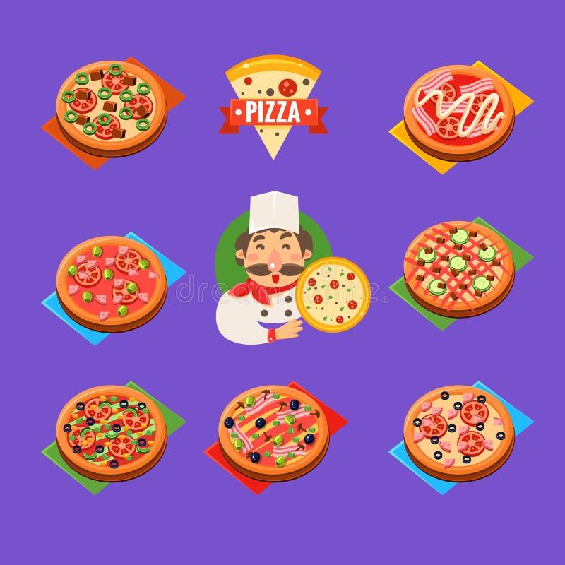 Insieme di vettore delle icone della pizza illustrazione vettoriale