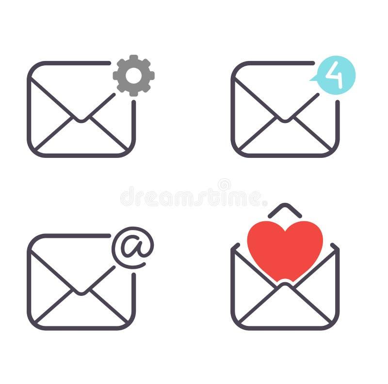 Insieme di vettore delle icone della posta illustrazione di stock