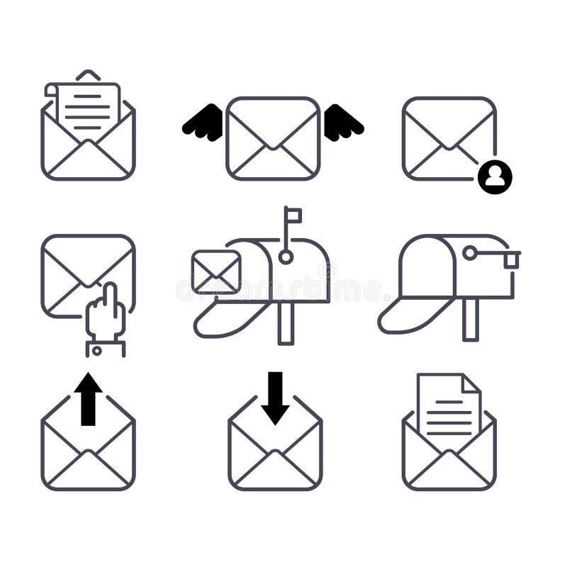 Insieme di vettore delle icone della posta illustrazione vettoriale