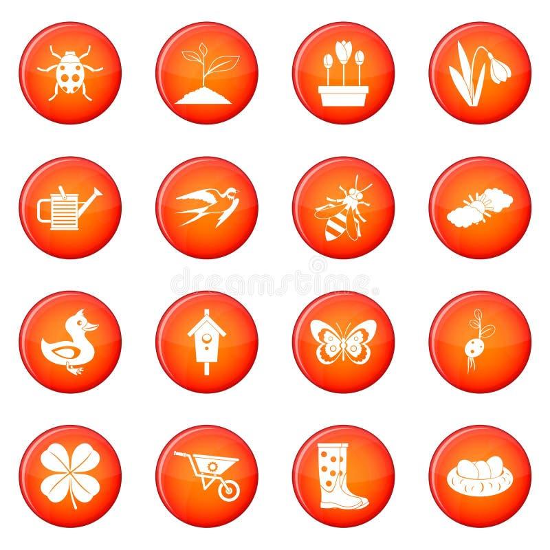 Insieme di vettore delle icone della primavera illustrazione di stock