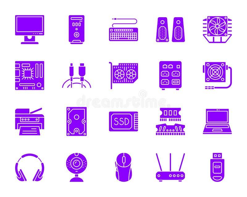 Insieme di vettore delle icone della siluetta di colore del computer royalty illustrazione gratis