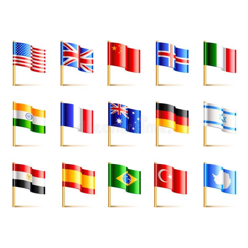 Insieme di vettore delle icone delle bandiere di paesi del mondo illustrazione vettoriale