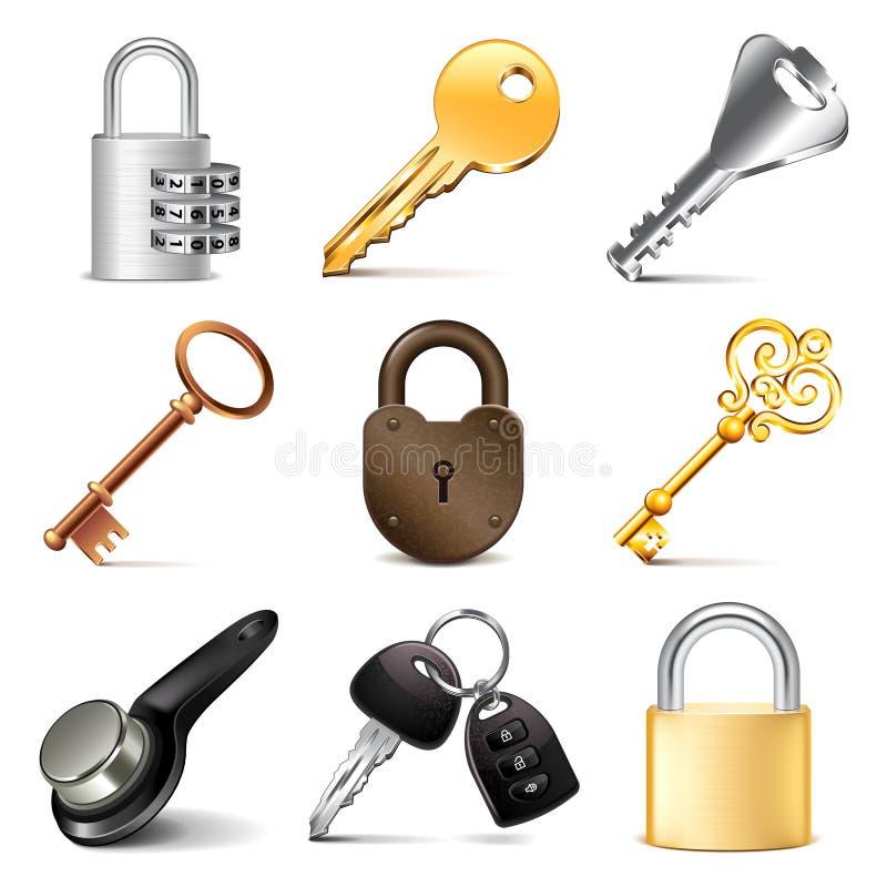 Insieme di vettore delle icone delle serrature e di chiavi illustrazione di stock