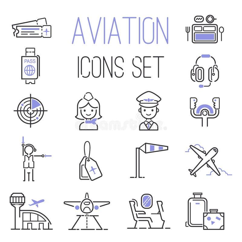 Insieme di vettore delle icone di aviazione royalty illustrazione gratis