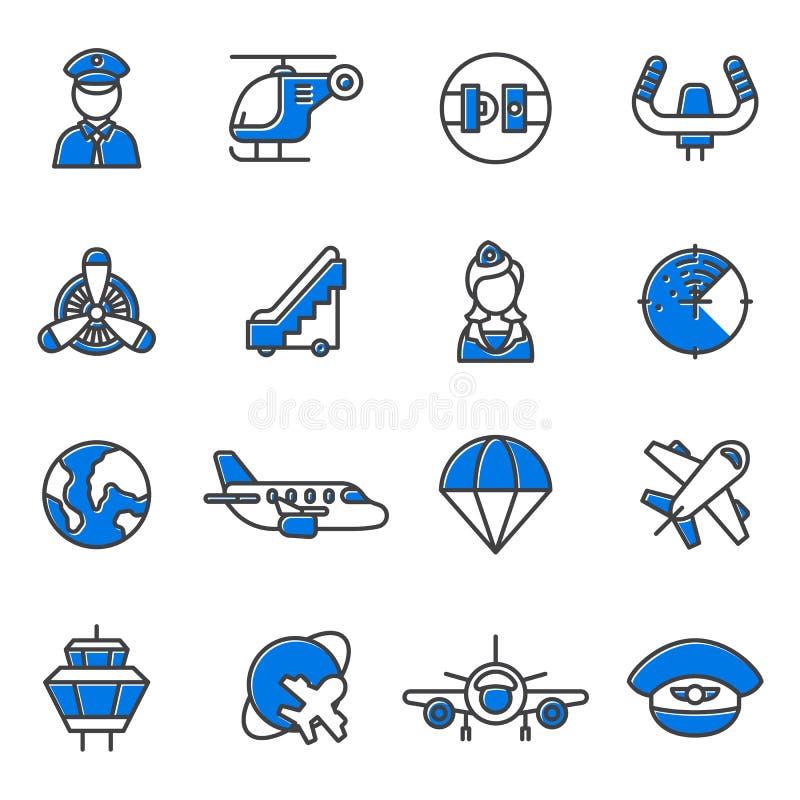 Insieme di vettore delle icone di aviazione illustrazione di stock