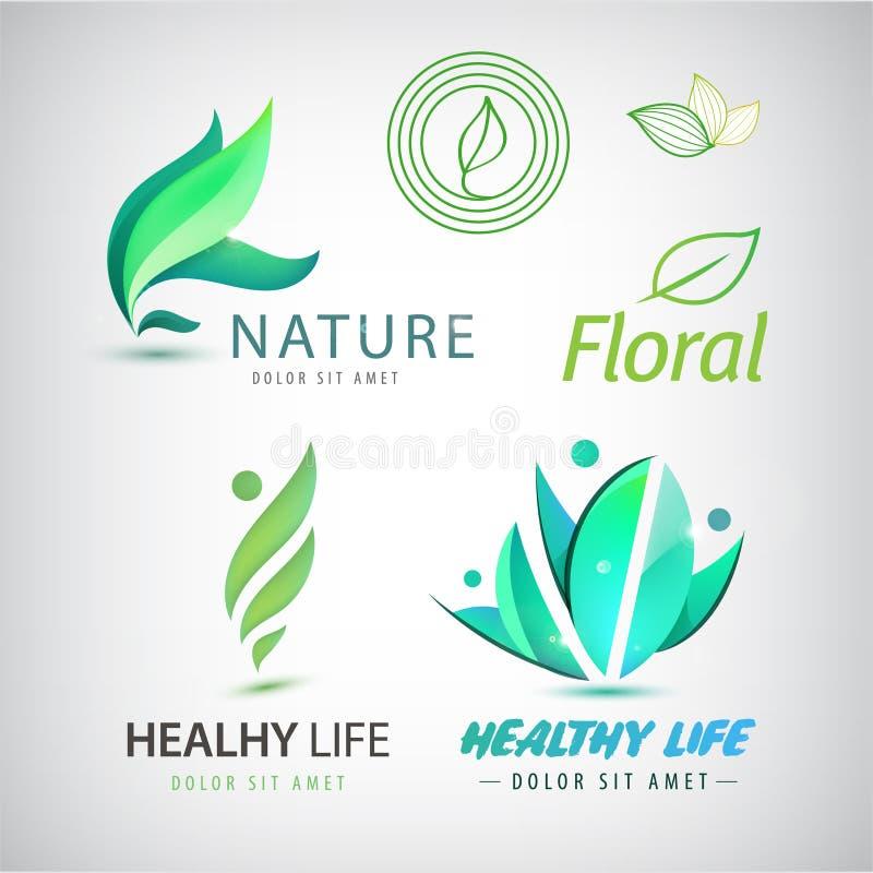 Insieme di vettore delle icone di eco, logos Uomo in buona salute illustrazione vettoriale