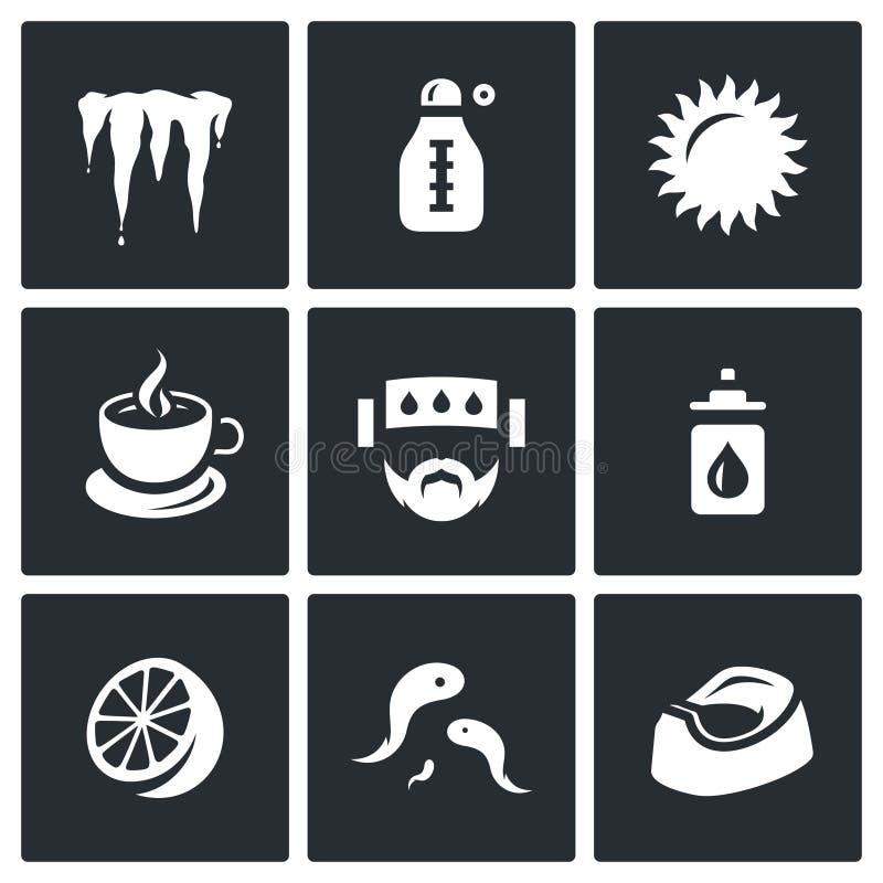 Insieme di vettore delle icone di malattia Raffreddandosi, temperatura, calore, medicina, emicrania, calo nasale, limone, sanguis illustrazione vettoriale