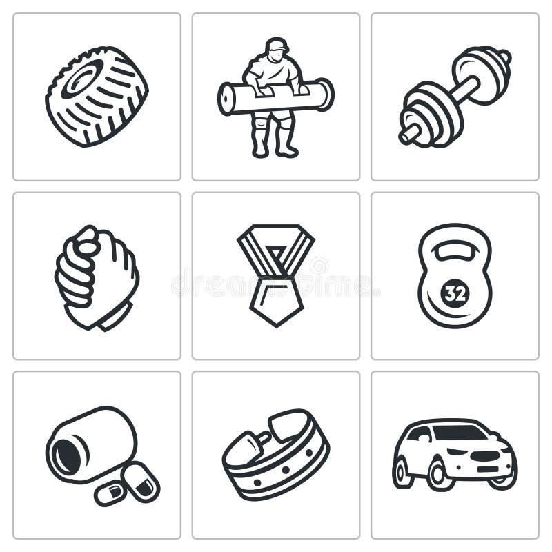 Insieme di vettore delle icone di manifestazione di sollevamento pesi Ruota, atleta, bilanciere, braccio di ferro, premio, Kettle royalty illustrazione gratis