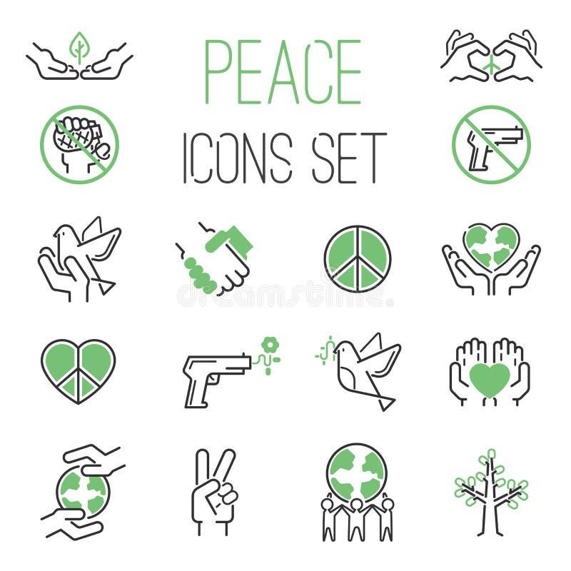 Insieme di vettore delle icone di pace illustrazione di stock