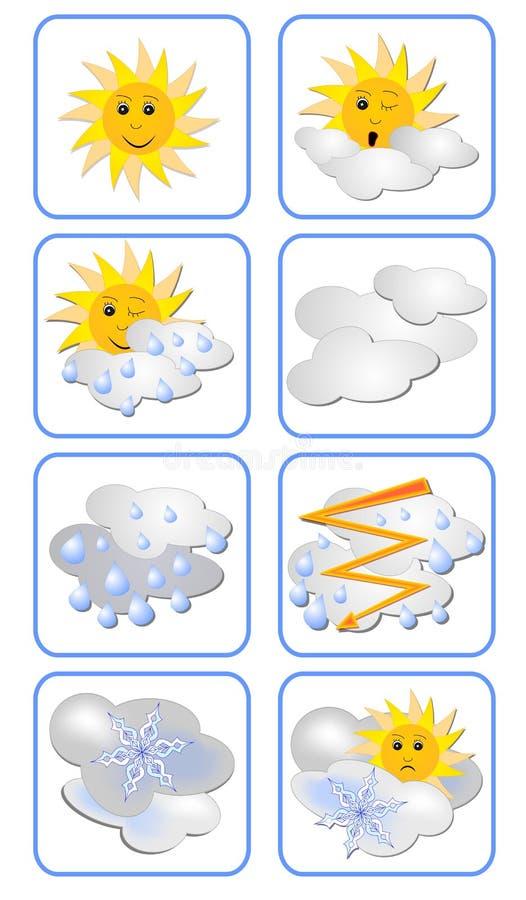 Insieme di vettore delle icone di previsioni del tempo per i tipi per qualsiasi tempo Il Sun ha un'espressione sul suo fronte illustrazione vettoriale
